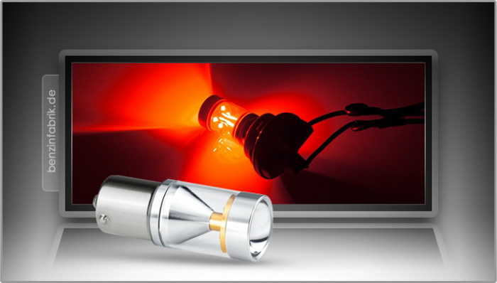6xCREE® LED, PKD V2.0, BA15s, LEDP21W mit 30 Watt in Rot